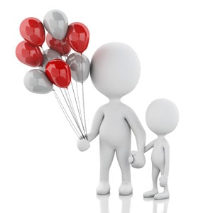 Parent and Child with Balloons