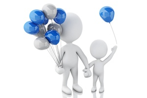 Parent and Child with Ballons
